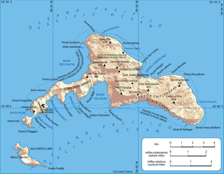 Map Of Isla Robinson Crusoe