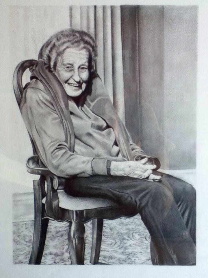 My Drawing of my Beautiful nan.  Amy Peters-Artist Facebook
