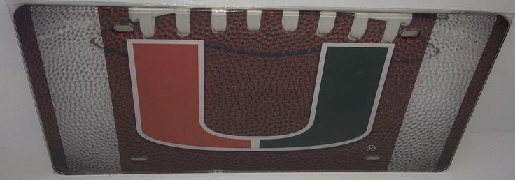 Miami Hurricanes U Football Background License Plate