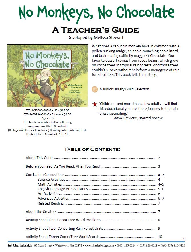 Teacher's Guide to accompany this book: http://www.melissa-stewart.com/pdf/NoMonkeysNoChocolate_TeachersGuide.pdf#zoom=70