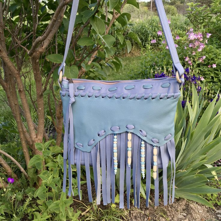 "Handmade Leather Fringe Bag Now on SALE!! Was $170.00 now only $144.  Beautiful summer purse! See my Etsy Shop:""SkyPathDesign """