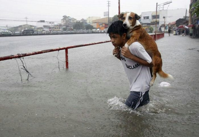 A boy carrying his dog during flood