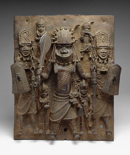 Plaque: Warrior and Attendants [Nigeria; Edo peoples, court of Benin] (1990.332)