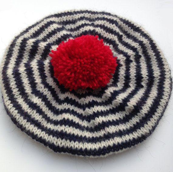 Nautical, Beret, Breton Stripes, Children's Hat, Hand Knitted Beret, Wool Tam, Navy Blue, Red White And Blue, Hat, Tam, UK Seller