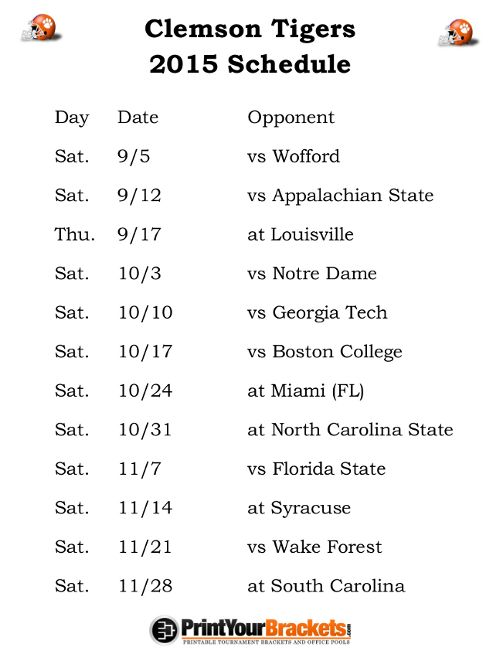 Printable Clemson Tigers Football Schedule 2015
