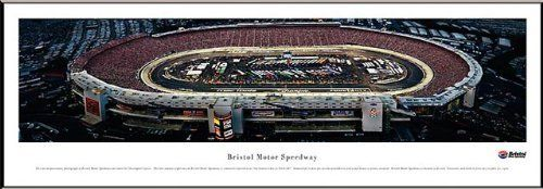 NASCAR Tracks - Bristol Motor Speedway Aerial - Night - Framed Poster Print by Laminated Visuals. $89.95. This aerial panoramic photograph of Bristol Motor Speedway was taken during the late summer night race. Bristol Motor Speedway is located in Bristol, Tennessee, and held its first race on July 30, 1961, with seating capacity for 18,000 fans. Today, after several expansion projects over the years, the speedway has 160,000 available seats. The concrete oval track, wit...