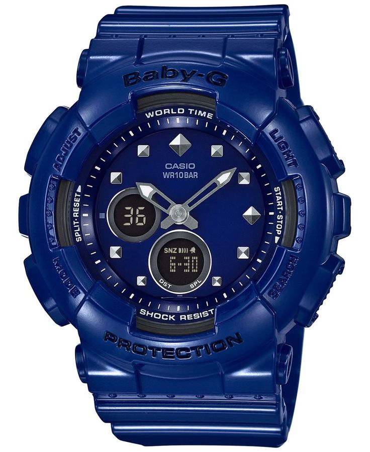 Baby-g Women's Analog-Digital Blue Resin Strap Watch 43x46mm BA125-2A