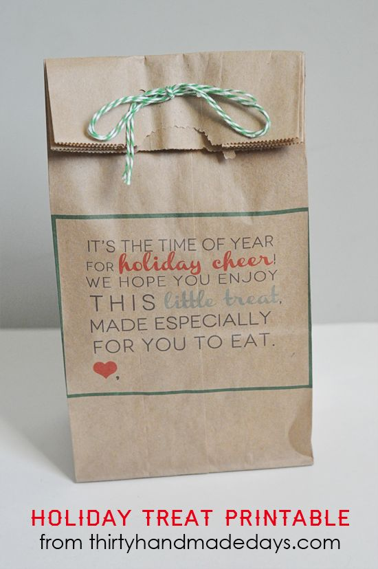 Holiday Treat Printable for bag or card