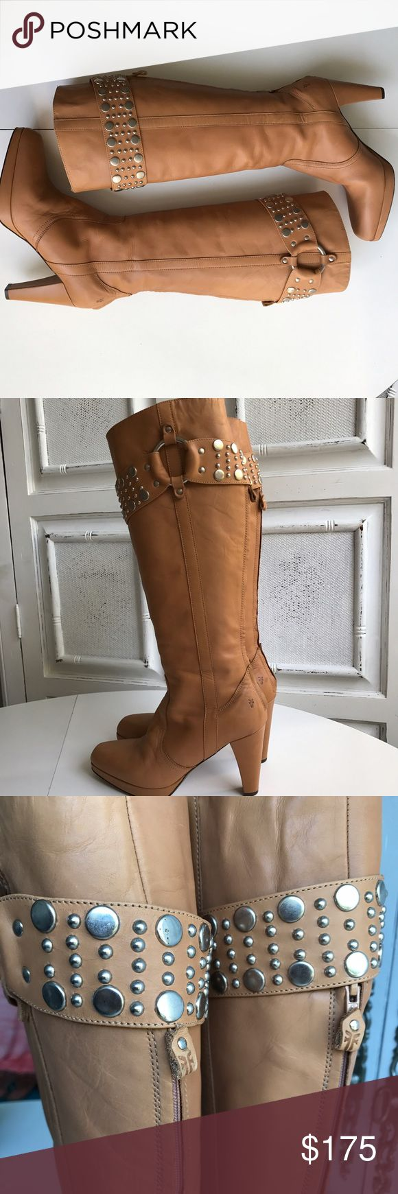 """❤️FRYE KATIE TALL BOOTS Absolutely gorgeous FRYE KATIE TALL BOOT. Made in Italy❤️Excellent condition. Super quality camel leather, adorned with silver stud detail around calf. Zip up back. Heel height=3 3/4, Heel to shaft=19"""", Circumference at opening=15 1/2"""". QUALITY SPEAKS FOR ITSELF!!! Frye Shoes Heeled Boots"""