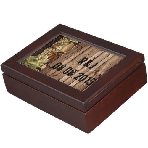 rustic barn wood western country Camo Wedding Keepsake Box
