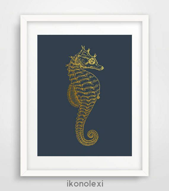 Seahorse Art, Seahorse print, Seahorse Poster, Navy and Gold Seahorse, Nautical wall Art, Beach Art, Nautical Decor, Bathroom Wall Art by Ikonolexi on Etsy