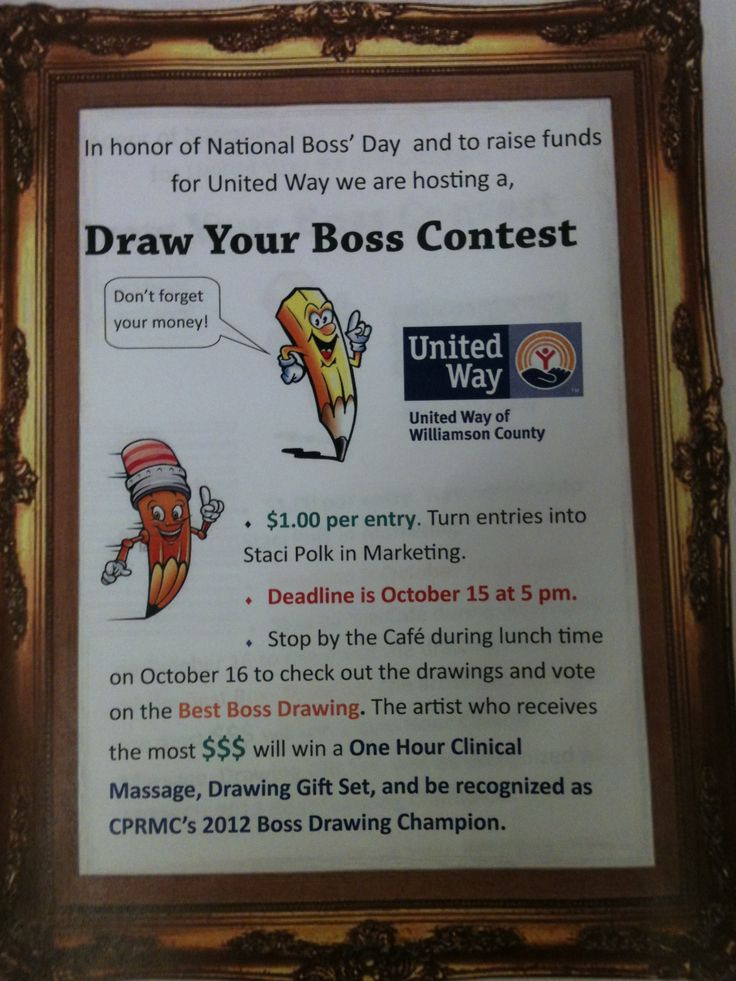 draw you boss contest united waycampaign ideasevent ideasfun ideasfundraising