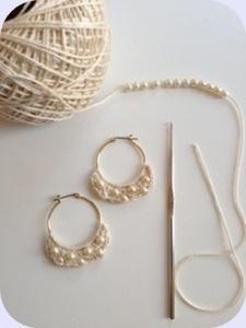crochetパールピアス。