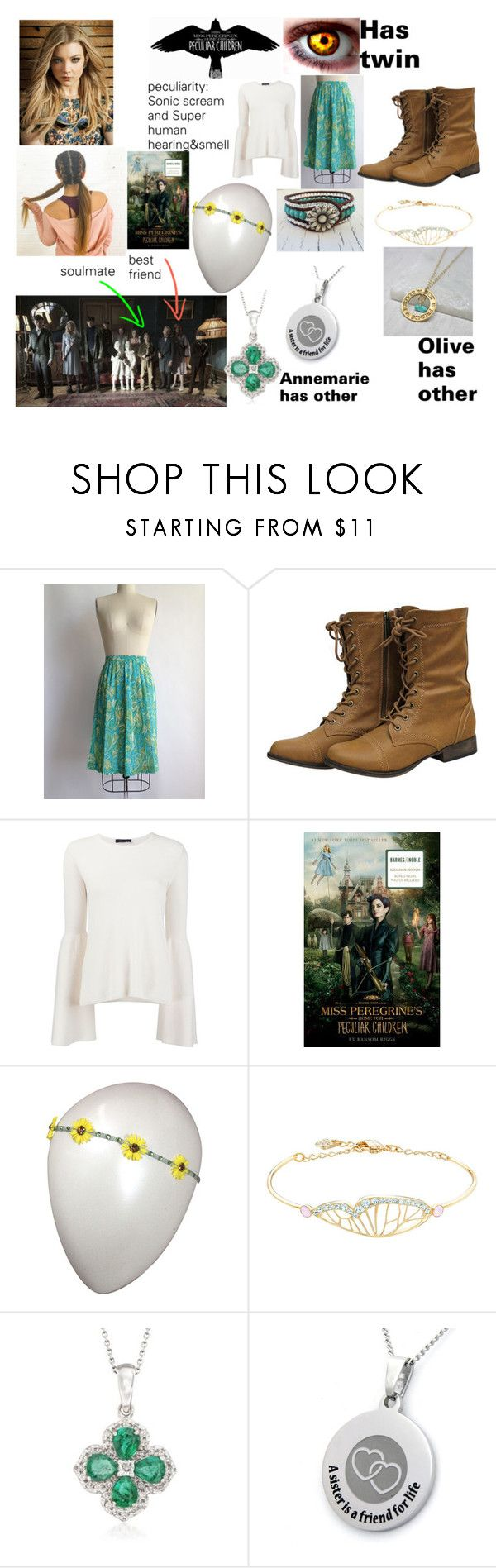 """Me in Miss Peregrine's Home for Peculiar children: Emma Nichoal B."" by natilepotter3769 ❤ liked on Polyvore featuring The Row, Tarina Tarantino, Swarovski and Ross-Simons"