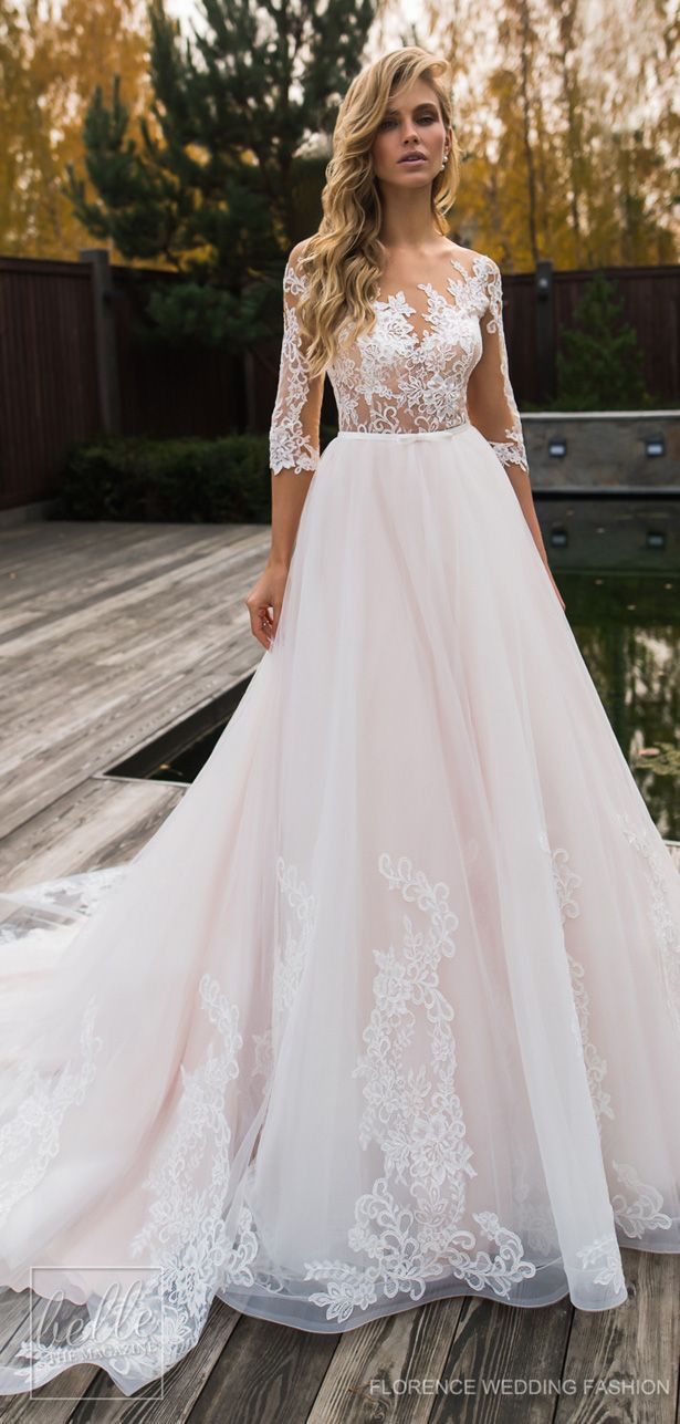 Ball Gown Wedding Dress By Florence Fashion 2019 Deito Bridal Collection Blush Princess With Ling Sleeves Lace And Tulle A Line