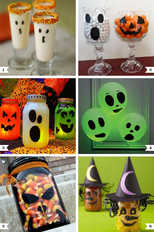 I love the glowstick ghosts :)  Easy Halloween craft projects: Fun with faces! #diy #halloween #partyideas