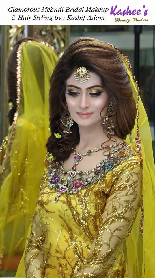 Glamorous mehndi /Mayoo'n bridal makeup by Kashif Aslam by kashee 's beauty parlour