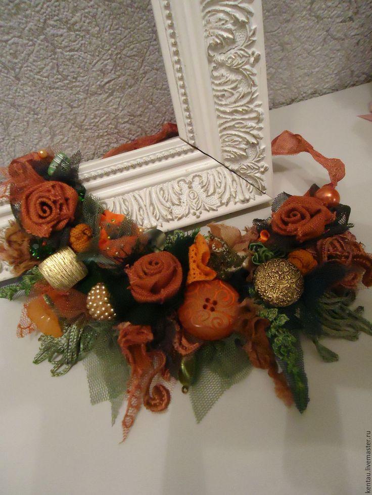 """Купить Колье текстильное """"Оранжевые розы"""" - оранжевый, колье, текстильное колье, колье текстильное"""
