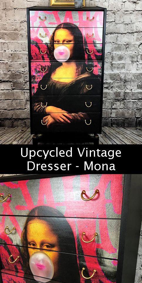 upcycled vintage dresser - mona lisa - black painted dresser