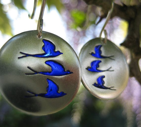 Swallow earrings silver and enamel earrings drop by ThemSilverSeas