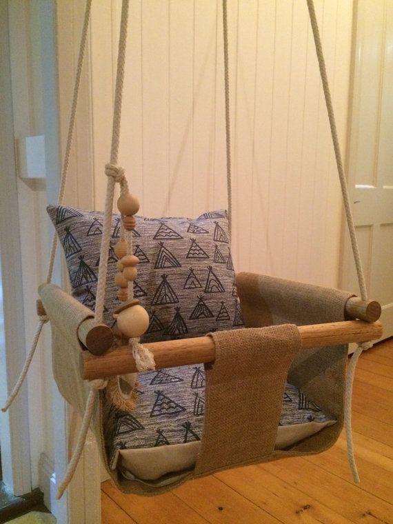 Handgemaakte jute Baby Swing peuter Swing of door IndicoandMe