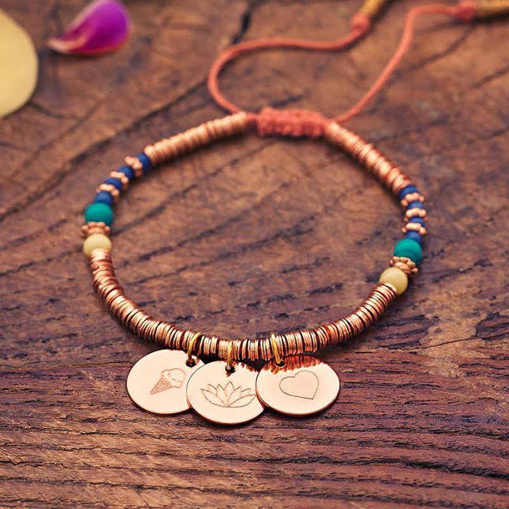 eat, pray, love engraved charm bracelet by lisa angel   notonthehighstreet.com