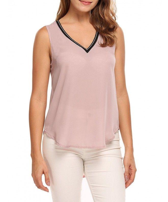 bae7bcd7043968 Womens Lightweight Chiffon V Neck Sleeveless Summer Blouse Tops - Pink -  C8182ERXA94,Women's Clothing, Tops & Tees, Tanks & Camis #Tops #Tees  #Tshirts ...