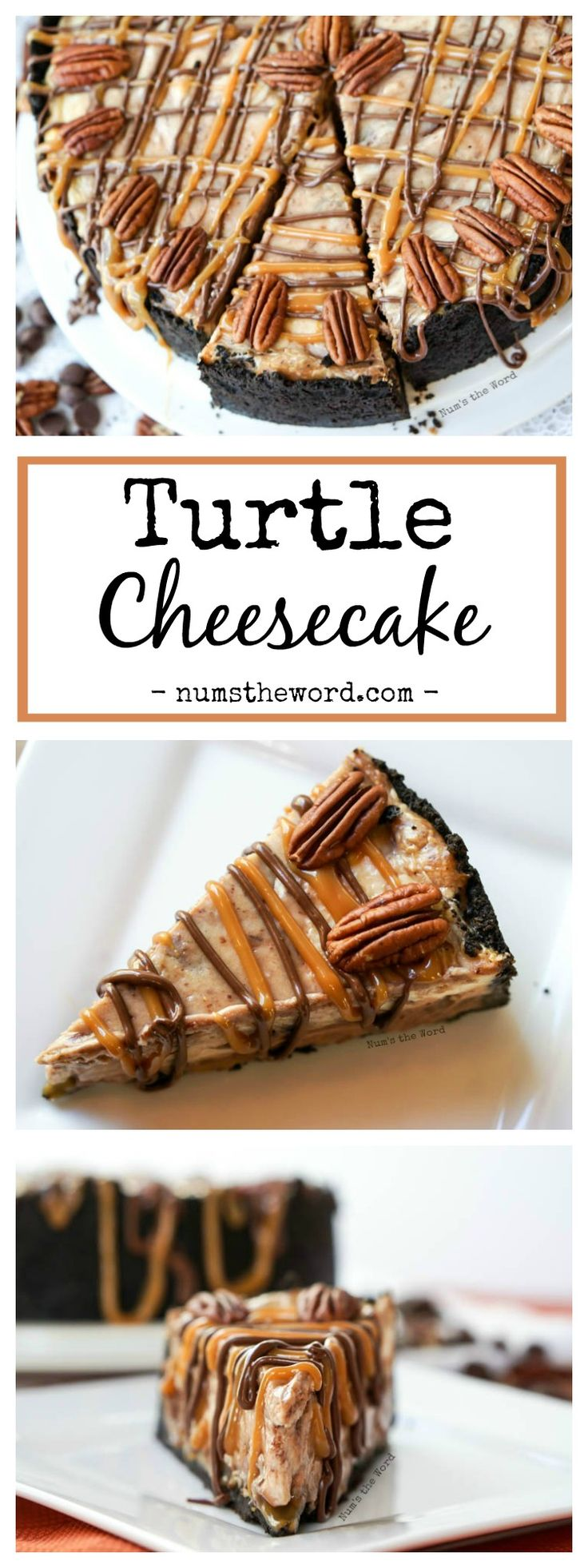 Turtle Cheesecake – A chocolate swirl cheesecake with a layer of caramel and pecans held together with a Oreo cookie crust.