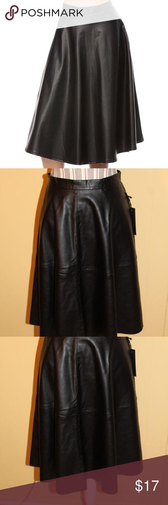 "NWT Forever 21 Faux Leather Skater Skirt Beautifully Draped Vegan Leather (Pleather) Skirt.  **NOT Identical to Stock Photo**  Shell: 100% Polyurethane Backing  Backing: 100% Polyester  28"" Waist 24"" Length Forever 21 Skirts Circle & Skater"