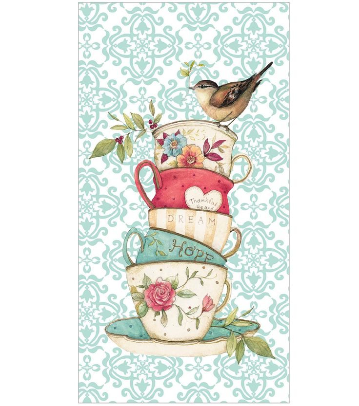 Susan Winget Printed Stacked Tea Cups Terry Hand Towel