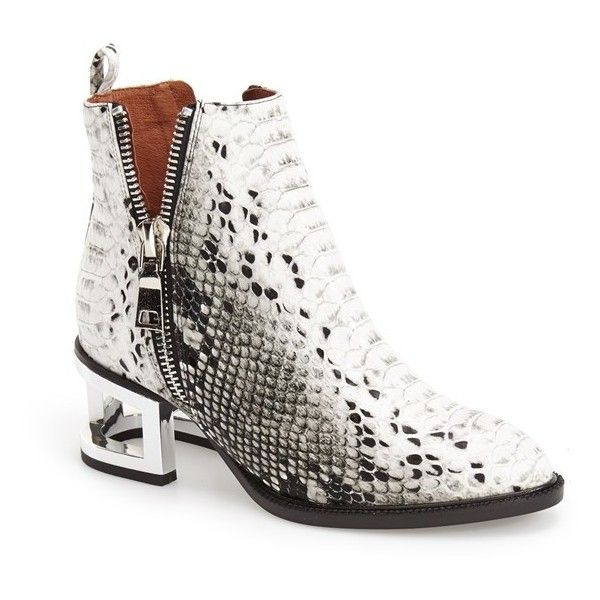 "Jeffrey Campbell 'Boone' Pointy Toe Bootie, 2"" heel (450 BRL) ❤ liked on Polyvore featuring shoes, boots, ankle booties, ankle boots, black white snake silver, side zip boots, silver ankle boots, mid heel booties, silver boots and jeffrey campbell booties"