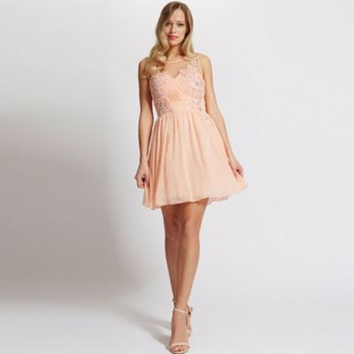 Laced In Love Peach embellished prom dress- at Debenhams.com