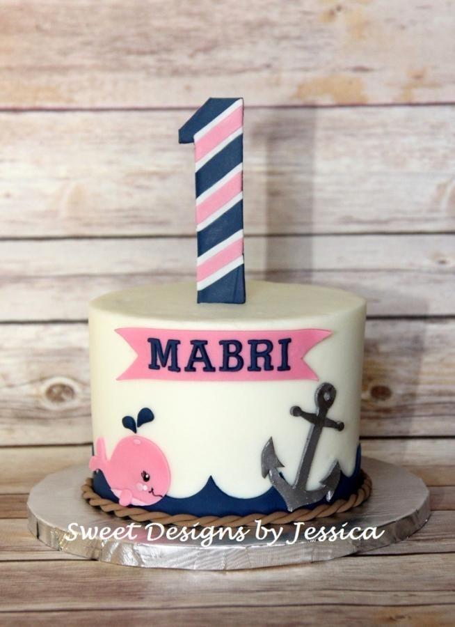Mabri's smash cake, nautical girl cake, anchor cake