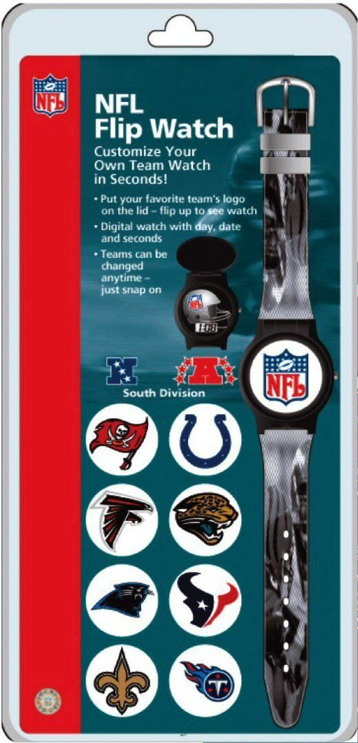 Kid's NFL Digital Interchangeable Flip-Top Watch - AFC and NFC South Divisions. Kid's NFL Flip-Top Watch! Customize with your favorite team on the top lid of the watch in seconds. Flip the top to see the digital time. Digital watch features time, day, date and seconds. Teams can be changed at anytime - just snap it on!.
