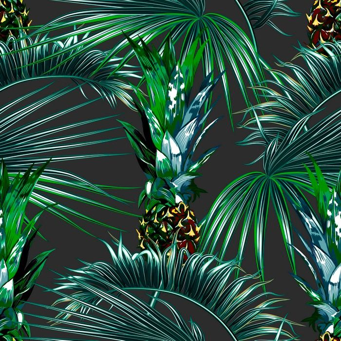Tropical palm leaves seamless vector floral pattern