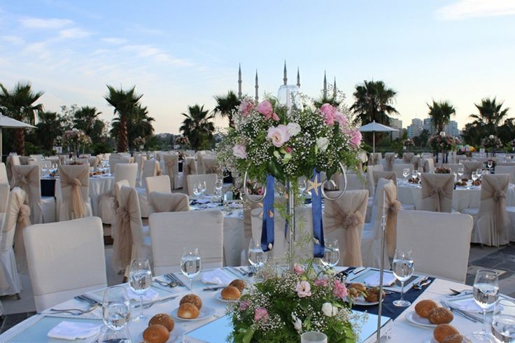 open-air area is ready for wedding dinner