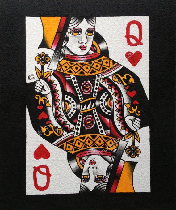 Queen Of Hearts Latest Tattoo Design | Fresh 2017 Tattoos Ideas
