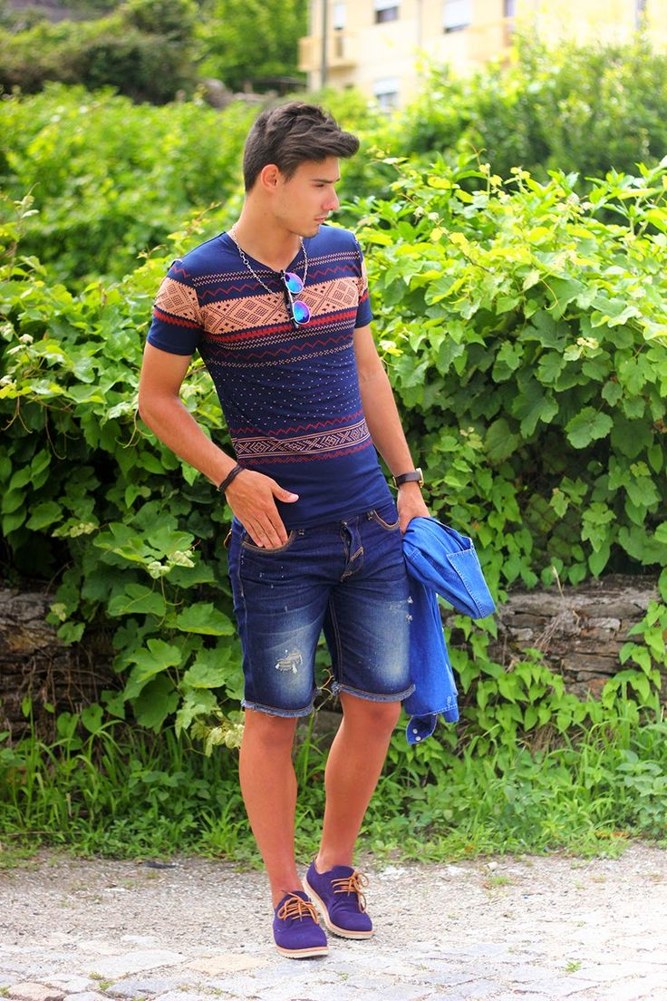 Men 39 S Blue Denim Shirt Navy Geometric V Neck T Shirt