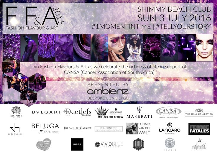 Ticket Update: Fashion Flavour & Art 2016  Tickets are now available to purchase online at R385 pp. All funds raised go directly to CANSA The Cancer Association of South Africa - a cause close to the heart of so many South Africans today. Get tickets: http://bit.ly/245tdYG Event Page: http://bit.ly/1OTur7J #TellYourStory #FFA2016#1MomentinTime #AmbienzExperiences