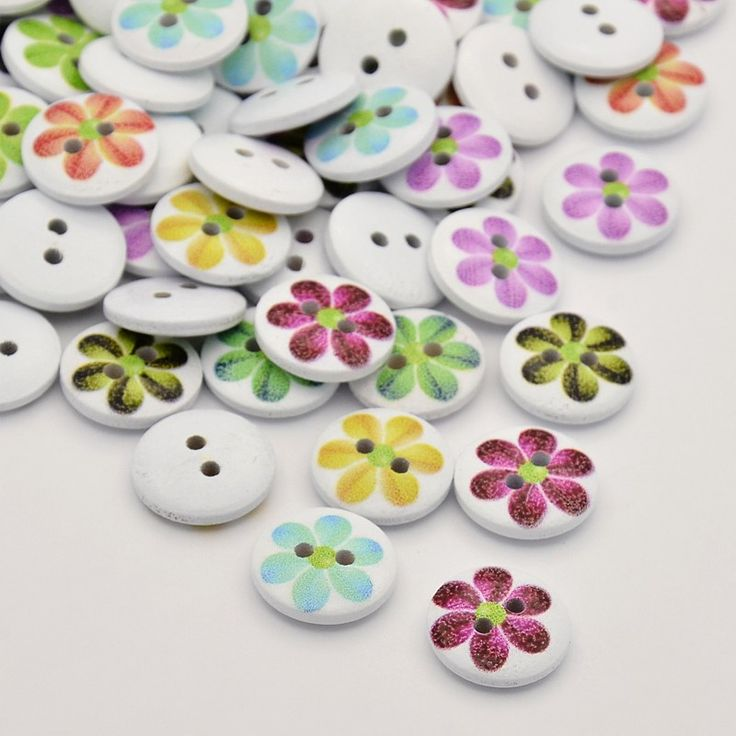 Flat Round with Flower Dyed 2-Hole Printed Wooden Buttons, White