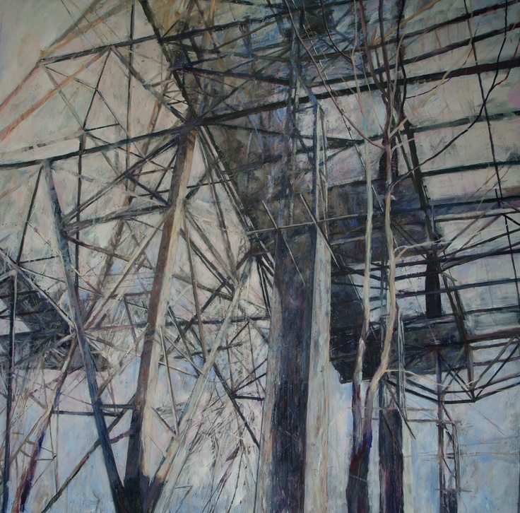 Stem/Transmission 1 (acrylic on canvas) by Karen Laird