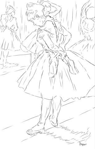 Estudio de Baile de Edgar Degas Dibujo para colorear