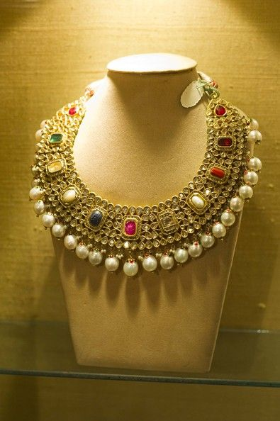 A Bridal Necklace on display in the upmarket Gem Palace jewelry shop on October 17, 2010 in Jaipur, India. Singer Katy Perry is due to marry...