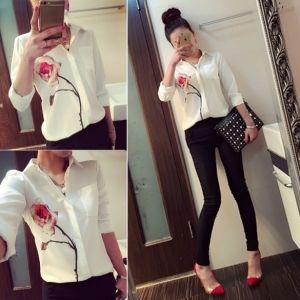 New Stylish Women's Fashion Lapel Collar OL Elegant Print Chiffon Shirt Blouse