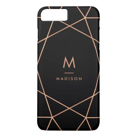 Black with Modern Faux Rose Gold Geometric Pattern iPhone 7 Plus Case - click to get yours right now!