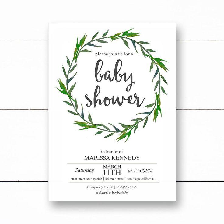 baby shower invitation greenery boho baby shower baby shower invitations modern invite printed