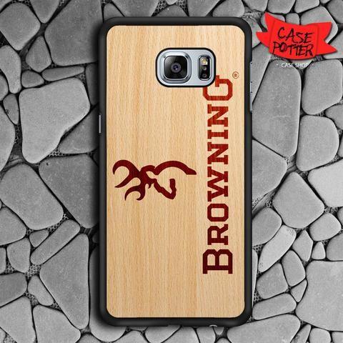 Browning Deer Wood Texture Samsung Galaxy S6 Edge Black Case