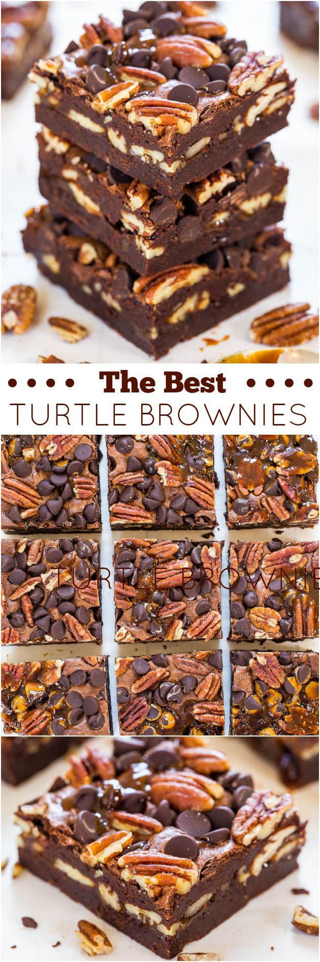 The Best Turtle Brownies - Super fudgy and loaded with chocolate. pecans and caramel! So.crazy.good!!!