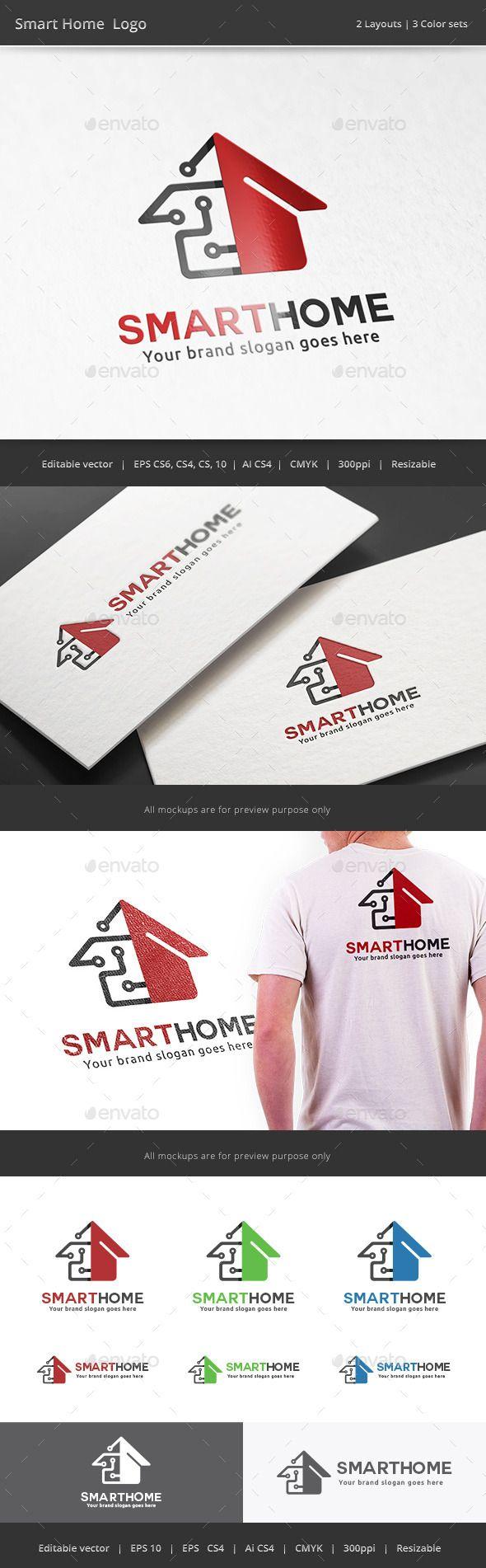 Smart Tech Home Logo Template #design #logotype Download…