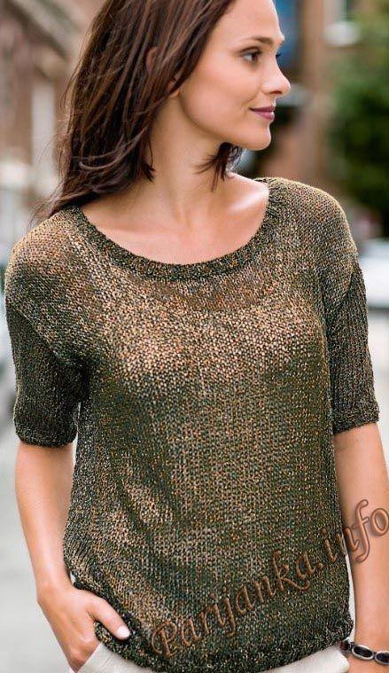Пуловер с короткими рукавами (ж) 17*178 Bergere de France №4784